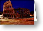Latium Region Greeting Cards - Traffic Races Around The Ruins Greeting Card by Winfield Parks