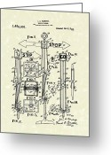 Traffic Light Greeting Cards - Traffic Signal 1922 Patent Art Greeting Card by Prior Art Design