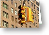 Manhattan Greeting Cards - Traffic Signal Greeting Card by Keith McInnes Photography