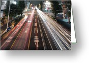 Marking Photo Greeting Cards - Traffic Trails At Night, Tokyo Greeting Card by Spiraldelight