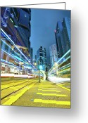 Long Street Greeting Cards - Traffic Trails In City Greeting Card by Leung Cho Pan