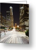 Long Street Greeting Cards - Traffic Trails On Street At Night Greeting Card by Eric Lo