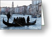 Gondolas Pyrography Greeting Cards - Traghetto . Gran Canal. Venice Greeting Card by Bernard Jaubert