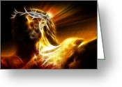 Pray Digital Art Greeting Cards - Tragic Jesus Crucifixion Greeting Card by Pamela Johnson
