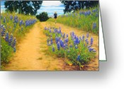 Runner Pastels Greeting Cards - Trail Runner and Lupines Greeting Card by Anastasia Nelson