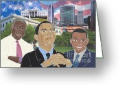 Barack Obama Mixed Media Greeting Cards - Trailblazers 2012 Greeting Card by Martha Rucker