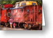 Humans Greeting Cards - Train - Car - Pennsylvania Northern Region Caboose 477823 Greeting Card by Mike Savad
