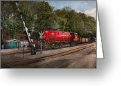 Rail Roads Greeting Cards - Train - Diesel - Look out for the Locomotive  Greeting Card by Mike Savad