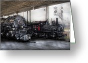 Locomotives Greeting Cards - Train - Engine - 1218 - End of the line  Greeting Card by Mike Savad