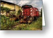 Rail Road Greeting Cards - Train - Engine - 8159 Parked Greeting Card by Mike Savad