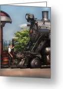 Pa Greeting Cards - Train - Engine - Alllll Aboard Greeting Card by Mike Savad