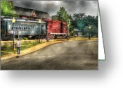 Suburban Scenes Greeting Cards - Train - Engine - Black River Western Greeting Card by Mike Savad