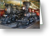 Locomotives Greeting Cards - Train - Engine - Steam Locomotives Greeting Card by Mike Savad