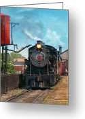 Kid Photo Greeting Cards - Train - Engine - Strasburg Number 9 Greeting Card by Mike Savad