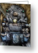 Locomotives Greeting Cards - Train - Engine -1218 - Norfolk Western Class A - 1218 - Front View Greeting Card by Mike Savad