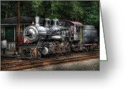 Whippany Greeting Cards - Train - Engine -385 - At the Station  Greeting Card by Mike Savad