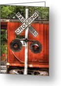 Childs Greeting Cards - Train - Yard - Railroad Crossing Greeting Card by Mike Savad