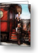 Women Greeting Cards - Train - Yard - Receiving a Telegram  Greeting Card by Mike Savad