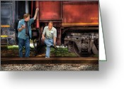 Whippany Greeting Cards - Train - Yard - Shootin the Breeze Greeting Card by Mike Savad