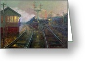 Trains Painting Greeting Cards - Train at Night Greeting Card by Lionel Walden