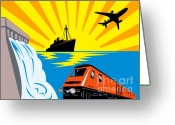 Dam Greeting Cards - Train Boat Plane And Dam Greeting Card by Aloysius Patrimonio