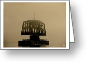 Dan Daulby Greeting Cards - Train Bridge in Fog Greeting Card by Dan Daulby