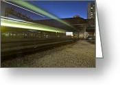 Public Transportation Greeting Cards - Train creates green streaks of light Greeting Card by Sven Brogren