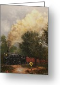 Engines Greeting Cards - Train Crossing Soo Line 1003 Greeting Card by Tom Shropshire
