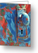 Knob Greeting Cards - Train Door Greeting Card by William Jones