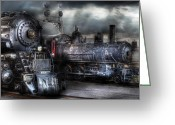 Blacks Greeting Cards - Train - Engine - 1218 - Waiting for Departure Greeting Card by Mike Savad