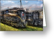 Va Greeting Cards - Train - Engine - 4919 - Pennsylvania Railroad electric locomotive  4919  Greeting Card by Mike Savad