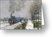 The Station Greeting Cards - Train in the Snow or The Locomotive Greeting Card by Claude Monet