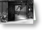 Boxcar Greeting Cards - Train Jumping Greeting Card by Bob Orsillo