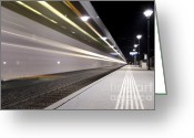 Long Street Greeting Cards - Train Greeting Card by Mats Silvan