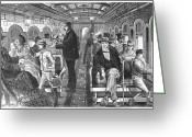 Train Car Greeting Cards - Train: Passenger Car, 1876 Greeting Card by Granger