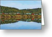 Freight Greeting Cards - Train Reflecting Greeting Card by Benjamin Yeager