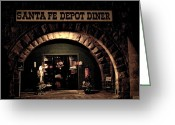 Santa Fe Greeting Cards - Train Station Greeting Card by Chris Berry