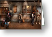 Gray Greeting Cards - Train - Station - Waiting for the next train Greeting Card by Mike Savad