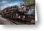 Wheels Greeting Cards - Train - Steam - 385 Fully restored  Greeting Card by Mike Savad