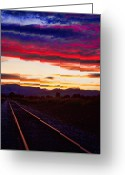 Landscape Posters Greeting Cards - Train Track Sunset Greeting Card by James Bo Insogna