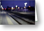 Railroad Track Greeting Cards - Train Tracks At Night Greeting Card by Francesca Guadagnini