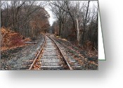 New York New York Com Greeting Cards - Train Tracks Greeting Card by John Rizzuto