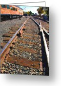 Santa Fe Digital Art Greeting Cards - Train Tracks Greeting Card by Wingsdomain Art and Photography