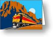 Wild West Greeting Cards - Train traveling with canyon Greeting Card by Aloysius Patrimonio