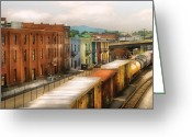 Old Fashioned Greeting Cards - Train - Yard - Train Town Greeting Card by Mike Savad