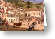 Veranda Greeting Cards - Training Fight in Biscay Greeting Card by Gustave Colin