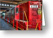 Roundhouse Greeting Cards - Trains - Red Diesel Locomotive 620 Greeting Card by Dan Carmichael