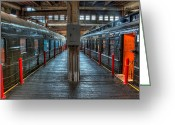 Roundhouse Greeting Cards - Trains - Two Rail Cars in Roundhouse Greeting Card by Dan Carmichael