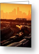 Kansas City Missouri Greeting Cards - Trains at Sunrise Greeting Card by Don Wolf