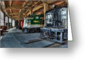 Roundhouse Greeting Cards - Trains - Engines Railcars Caboose in the Roundhouse Greeting Card by Dan Carmichael